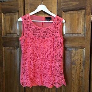 Cynthia Rowley Coral Crochet Lined Top